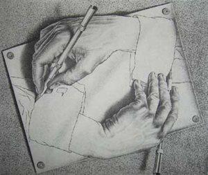 """""""Χέρια που υπογράφουν"""" Μαουρίτς Κορνέλις Έσερ"""
